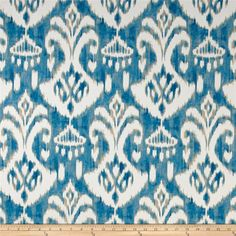 Swavelle/Mill Creek Indoor/Outdoor Rivoli Waterside from @fabricdotcom  This indoor/outdoor fabric is stain and water resistant, very family friendly and perfect for outdoor settings and indoors in sunny rooms. It is fade resistant up to 500 hours of direct sun exposure. Create decorative toss pillows, cushions, chair pads, placemats, tote bags, slipcovers and upholstery. Colors include shades of blue, cream, and tan.