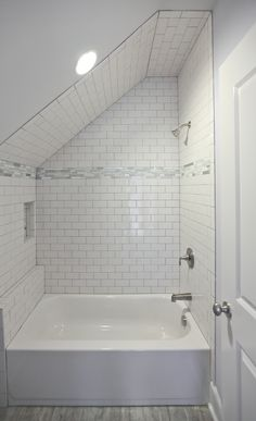 We are particularly proud of the tile work and adaptation to space in this secondary bathroom. Renovation Design, House, Renovation Project, Home, Tile Work, Custom Homes, Design Build Firm, Construction Renovation, Renovations