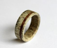 Deer antler ring with oak wood inlay
