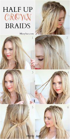 braid missi, crown braids, braid tutori, half braid crown