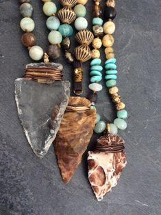 SALE- Arrowhead knotted boho necklace - OOAK long semi precious adjustable leather ties, jewelry by Mollymoojewels