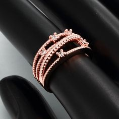 Classic Rose Gold Plated Geometric White Cubic Zirconia Ring for Unisex GPR796 3