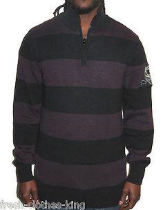 Nautica Jeans Sweater New Mens Purple Stripe 1 4 Zip Pull Over Size Small f756fc7587c60