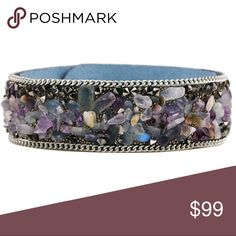 🆕Beaded leather cuff snap bracelet Brand new in package. Stunning stone beaded faux leather snap button bracelet. 2 button adjustable. 8.5. Inches long. Ajustable from 6.5 inches. Gorgeous addition to any closet. Colors are blue and purple with other natural stone beads. Offers welcome!! COSTUME JEWELRY Jewelry Bracelets