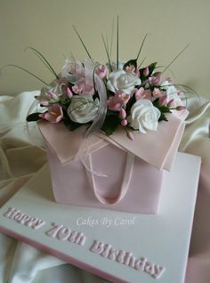 Pink flower box Cake Cake by cakesbycarol Gorgeous Cakes, Pretty Cakes, Fondant Cakes, Cupcake Cakes, Fondant Bow, Car Cakes, Fondant Tutorial, Fondant Flowers, Fondant Figures