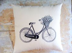 Vintage Bicycle Pillow , French Country Home, Cottage Decor, Shabby Chic, French Decor. $27.00, via Etsy.