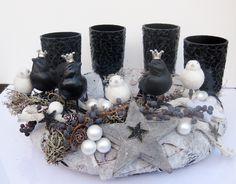 Adventskranz - Adventskranz black & white - ein Designerstück von kunstbedarf24 bei DaWanda