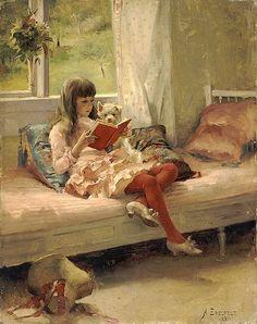 Good Friends (Portrait Of The Artist's Sister, Bertha) -- Albert Edelfelt (1854 – 1905, Finnish)