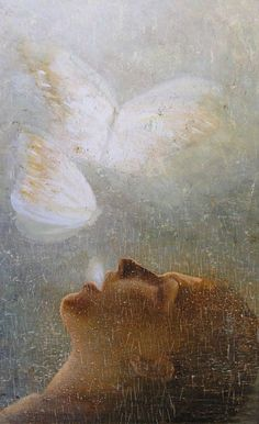 My cocoon tightens, colors tease.  I'm feeling for the air; A dim capacity for wings demeans the dress I wear.  - Emily Dickinson, Poem 1099 |  Artist, Laurie Kaplowitz