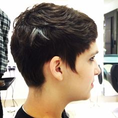 A nice little pixie crop taken from shoulder length hair using only a razor