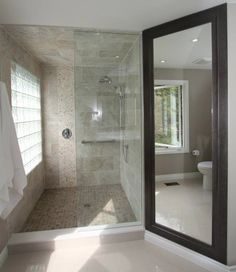 Dream bathroom, large bathroom shower, river rock pebbles, gorgeous