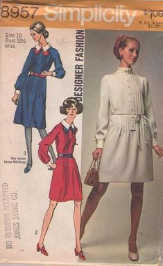 MOMSPatterns Vintage Sewing Patterns - Simplicity 8957 Vintage 70's Sewing Pattern BRILLIANT Mod Designer Fashion Space Age Pin Tucks Secretary Dress, Short or Below Knee Size 10 Simplicity Sewing Patterns, Vintage Sewing Patterns, Clothing Patterns, Teen Fashion, Fashion Models, 70s Inspired Fashion, Beautiful Patterns, Vintage Outfits, Size 12