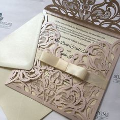 Blush Mademoiselle Laser cut invitation finished with a cute ivory Dior bow. @sijaradesigns