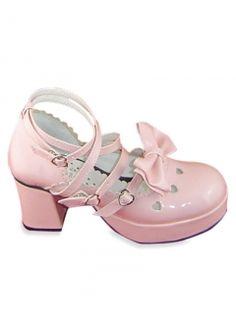 Bright Pink 3'' High Heel 2/5'' Platform Bow Heart Buckle Patent Leather Lolita Pumps
