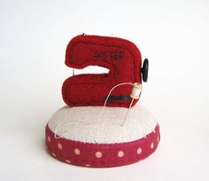 Red Sewing Machine Pincushion