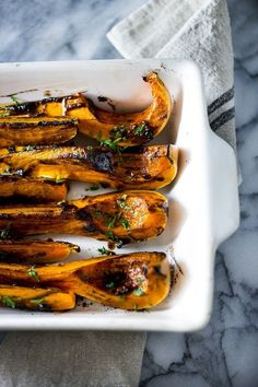 Roasted Butternut Squash with Miso & Black Garlic -a delicious easy fall side dish, full of umami flavor -- this healthy recipe is vegan and gluten free! Garlic Recipes, Vegetable Recipes, Vegetarian Recipes, Healthy Recipes, Delicious Recipes, Thanksgiving Recipes, Fall Recipes, Whole Food Recipes, Cooking Recipes