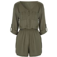 Womens Khaki Military Playsuit ($3.99) ❤ liked on Polyvore featuring jumpsuits, rompers, playsuit romper, khaki romper, long-sleeve romper and long-sleeve rompers