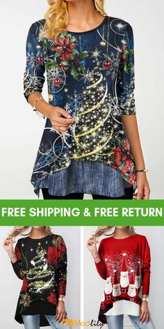 trendy tops for women online on sale Christmas Tops, Christmas Fashion, Trendy Tops For Women, Holiday Outfits, Cool Outfits, Fashion Dresses, Costume, Clothes For Women, My Style