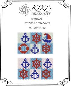 Peyote pen cover patterns- nautical 1-2 peyote patterns, set of 2 for pen wrap -with anchor for G2 pen by Pilot-in PDF instant download
