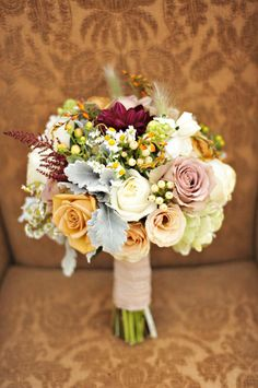 rustic luxe wedding theme elegant bridal bouquet--- look at all these colors together Carly!!!  That purple in the middle is the bridesmaid dress color almost to a T!