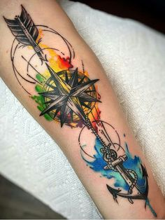 colored tattoo, colored tattoo men, wrist colored tattoo, wrist tattoo, colored tattoos for men - Tattoo Ideas Tattoos Masculinas, Arrow Tattoos, Trendy Tattoos, Body Art Tattoos, Hand Tattoos, Tattoos For Guys, Tattoos For Women, Tatoos, Arrow Compass Tattoo