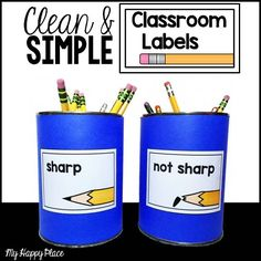 72 clean and simple classroom supply labels #kindergarten #first grade #second grade