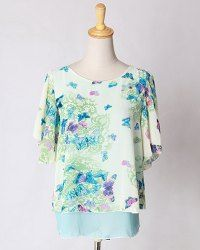 Scoop Neck Butterfly Print Stylish Chiffon Blouse For Women - BLUE XL