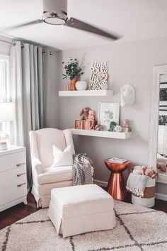 Modern eclectic baby nursery. White monochrome gender neutral nursery with copper accents. So pretty!