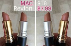 23 Awesome Dupes for Expensive Lipsticks-revlon attitude nude Mac Lipstick Dupes, Mac Dupes, Best Lipsticks, Nude Lipstick, Eyeshadow Dupes, Gloss Eyeshadow, Eyeshadow Palette, Lipstick Shades, Glossy Lipstick