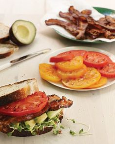Bacon, Avocado, and Tomato Sandwich.  NOTE: Substitute mayonnaise with Greek yogurt, and fatty bacon with Canadian bacon for a healthy option.