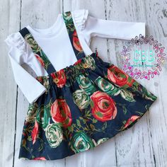 Girl set skirt with detachable straps and ruffled shirt by CreationsBabyB on Etsy https://www.etsy.com/listing/558085508/girl-set-skirt-with-detachable-straps