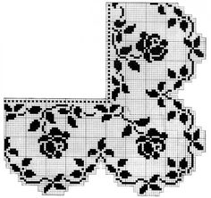 The Roses in Filet Crochet Are Blooming in Your Bedroom pattern was originally published in April 1925 in The Needlecraft Magazine. The border, with turned corner, and the wide stripe of matching design may be arranged in different ways to furnish. Filet Crochet Name Pattern, Crochet Edging Patterns Free, Crochet Bookmark Pattern, Filet Crochet Charts, Crochet Bookmarks, Crochet Motifs, Crochet Borders, Thread Crochet, Free Pattern