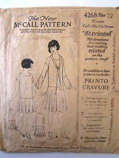 Darling McCall 1920's Girls Slip on Dress Pattern Sz 12 4268 Antique Vintage | eBay