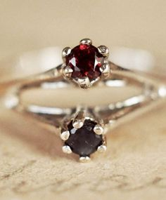 Silver Sapphire Garnet Ring