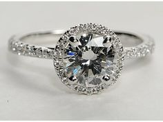 Floating Halo Diamond Engagement Ring in 14k White Gold (1/4 ct. tw.)   Blue Nile