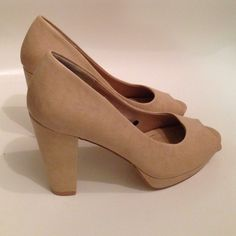 H&M Nude Heels H&M Nude Heels. Worn once. Size 38. I am usually a size 7. H&M Shoes Heels