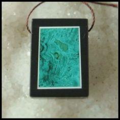 Black Stone And Malachite Intarsia Gemstone Pendant Bead