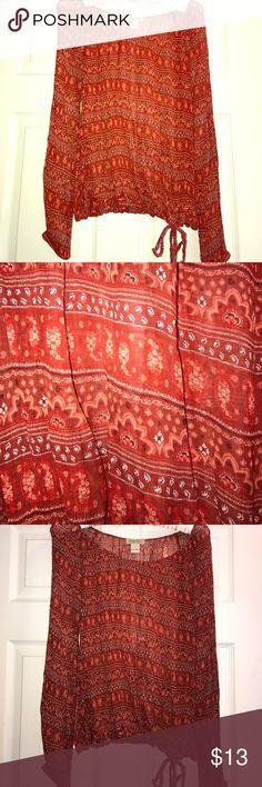 Blouse Sheer paisley burnt orange-red print, ties at bottom, scoop neck Lucky Brand Tops Blouses