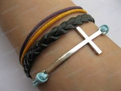 Bracelet antique silver cross braceletcross wax by infinitywish,