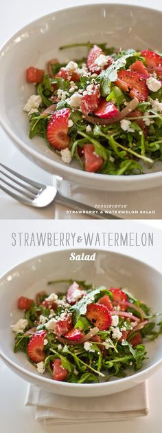 Strawberry Watermelon Salad with Arugula and Feta Strawberry Watermelon Salad, Watermelon Salad Recipes, Spring Salad, Summer Salads, Healthy Cooking, Healthy Eating, Cooking Recipes, Veggie Recipes, Healthy Recipes