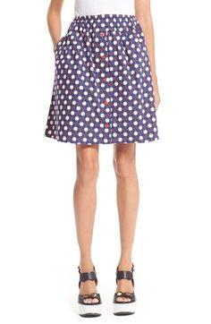 Carven Clover Print Poplin Skirt