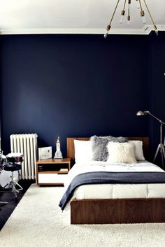 Bedroomappealing Stunning Navy Blue Bedrooms Blue Bedroom Walls throughout proportions 736 X 1103 Navy Blue Walls Bedroom - Very few individuals get very Dark Blue Bedrooms, Navy Bedrooms, Blue Rooms, Girl Rooms, Master Bedrooms, Orange Bedrooms, Teenage Bedrooms, Master Bath, Living Room Designs