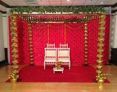 New Golden Kalash Mandap by Sarita Goel, Wedding Designer at Aayojan ( Indian Wedding Decorations, Wedding Reception Decorations, Wedding Designs, Wedding Ideas, Event Decor, Home Decor, Decoration Home, Room Decor, Home Interior Design