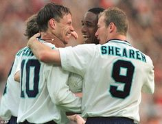 Teddy Sheringham, Alan Shearer and Paul Ince celebrate at Euro '96