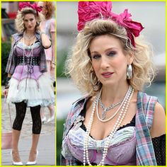 Sarah Jessica Parker is a Material Girl Sarah Jessica Parker goes back to the as she films new scenes for Sex and the City 2 in New York City on Wednesday (September The actress… Eighties Costume, 80s Party Costumes, 80s Halloween Costumes, Girl Costumes, 80s Theme Party Outfits, 80s Party Dress, Party Outfits For Women, 80s Dress, Fancy Dress