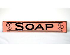 Tin Lithographed Sign Laundromat SOAP Bubblegum Pink and Black