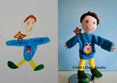 Birthday gift ideas for nieces and nephews. Take a drawing they give you and turn it into a real doll!