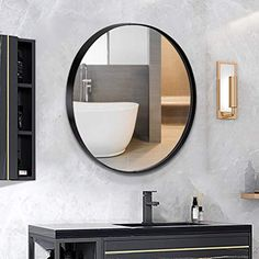 ANDY STAR Round Wall Mirror for Bathroom, 30 Inch Black Circle Mirror Modern Premium Stainless Steel Metal Frame Wall Mounted for Bathroom, Entryway, Vanity, Living Room, Bedroom #lowcountry #AmazonFinds Black Round Mirror, Round Wall Mirror, Wall Mounted Mirror, Round Mirrors, Mirror Work, Black Bathroom Mirrors, Stainless Steel Metal, Brass Metal, Living Room Mirrors