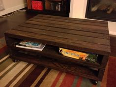 Pallet Coffee Table With Storage Cubby  http://www.instructables.com/id/Pallet-Coffee-Table-3/