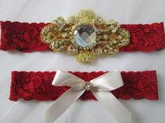 Red Lace Wedding Garter Set Red & Gold Bridal by GibsonGirlGarters